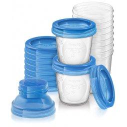 Avent 10 Vaso/Tapa/Adaptador/Almacenaje
